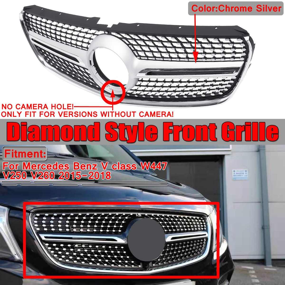 W447 V250 V260 Алмазный автомобильный передний бампер решетка гриль для Mercedes для Benz V Class W447 V250 V260 2015 2016 2017 2018 без эмблемы
