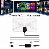 Antenne TV numerique dinterieur 80 Miles  Booster de Signal  amplificateur HDTV  panneau aerien blanc pour Home cinema HDTV avec adaptateur