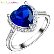 Женское романтическое кольцо Yunkingdom, кольцо с темно-синим кубическим кристаллом в форме сердца, Ювелирное Украшение для костюма, X0030
