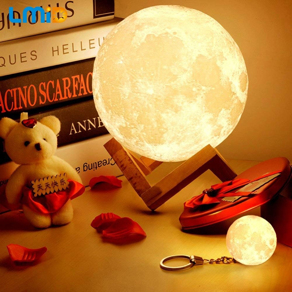 LMID LED lámpara de noche 3d dibujo de Luna decoración del hogar creativo alimentado por batería luz de noche Led cambio de Color Lámpara de noche