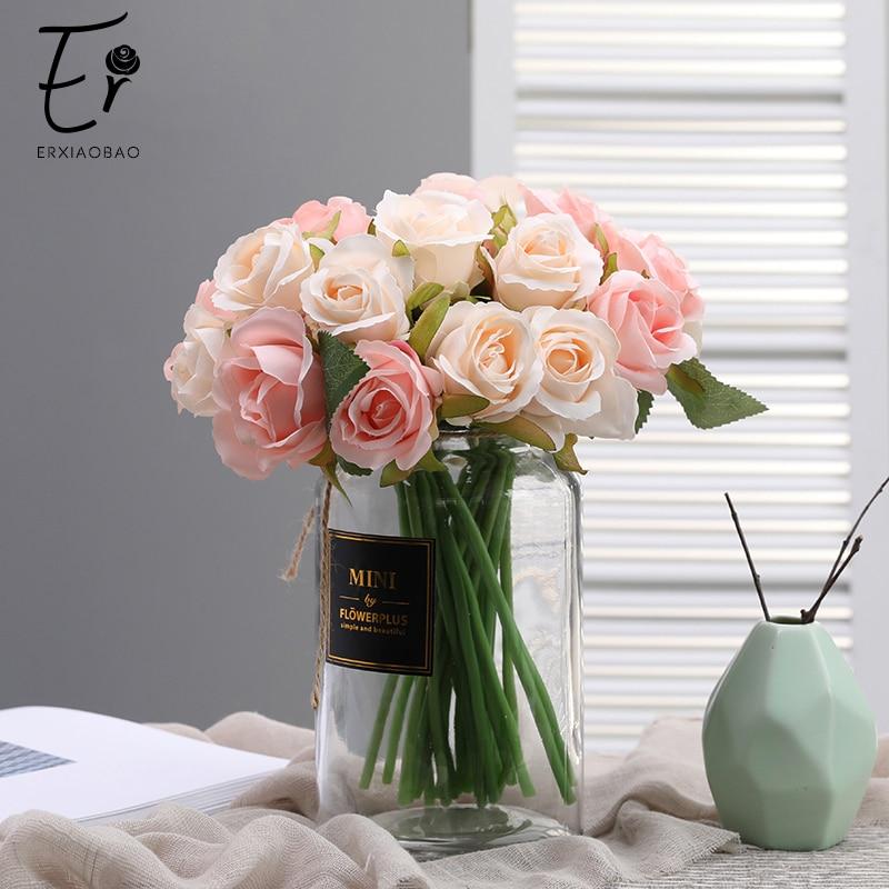 Erxiaobao, 12 cabezas, flores artificiales, rosas, flores falsas, boda, decoración Floral, mesa de boda, novia, ramo de celebración