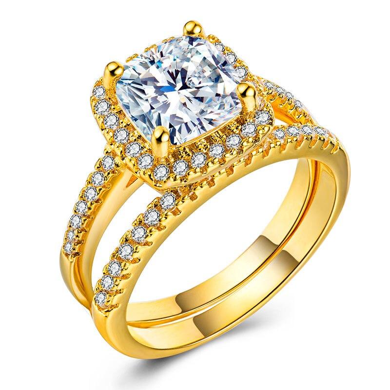 Anillos de boda de Color oro y plata para mujer 2 fotos cuadrado joyería de circonita simulada Bague Bijoux accesorios de anillo de compromiso para mujer