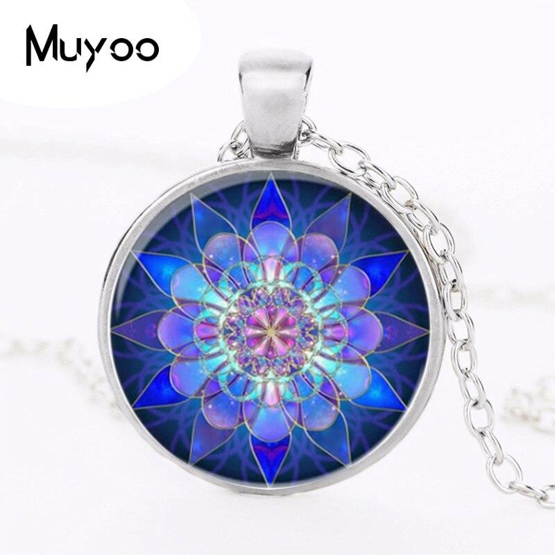 Necklaces handmade jewelry personality blue mandala  necklace pendant charm henna yoga om symbol Zen Buddhism HZ1