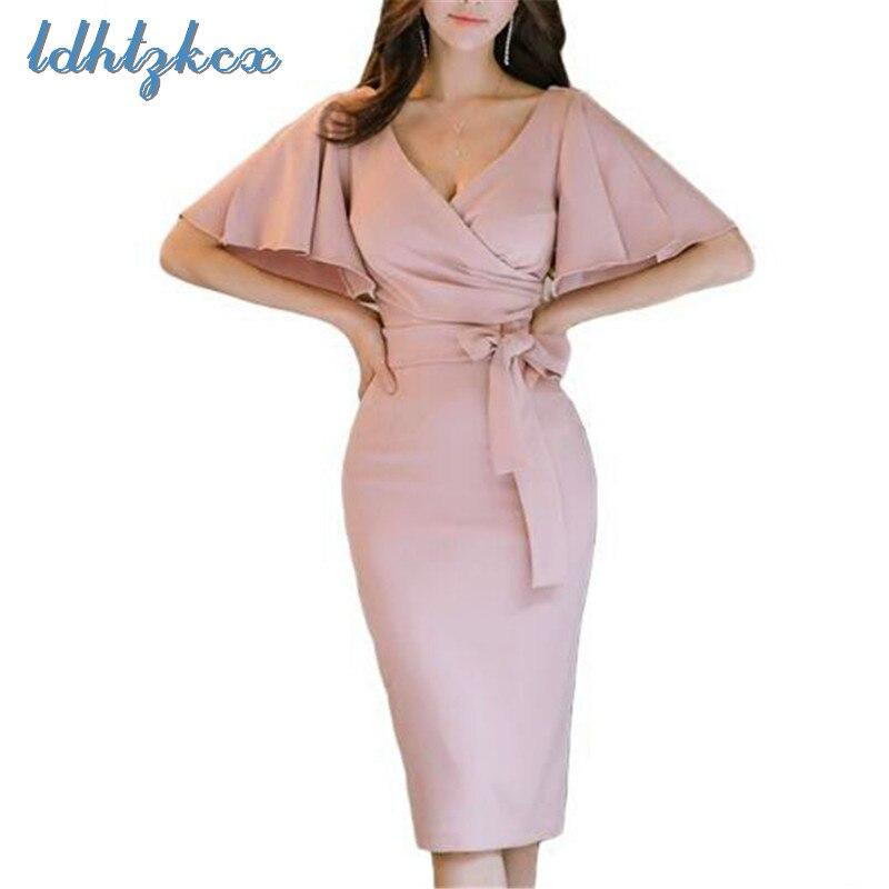 Vestido rosa Mulheres Plus Size Lápis Vestidos Verão 2018 Coreano New Lady Escritório de Cintura Alta Manga Curta V Pescoço Fino vestidos LD56