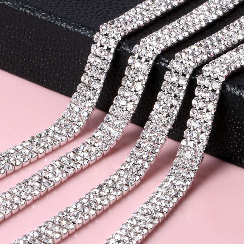 2.8mm 1Yard/Roll 3Row Glass Strass Rhinestones Cup Chain Silver Claw Sew On Rhinestones Trimming Crystal For DIY Clothing Y2949