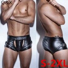 XX91 2018 Sexy Slipje Kunstleer Vier Boxer Shorts Sexy Open Kruis Bodysuit Korte Slipje Lingerie Mannen Ondergoed