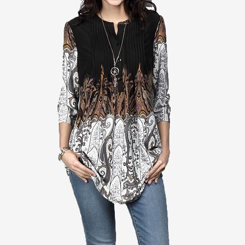 Blusas túnicas para mujer con estampado Floral primavera 3/4 Blusa plisada con cuello redondo para mujer 2020 verano Vintage Casual túnica Tops para mujer