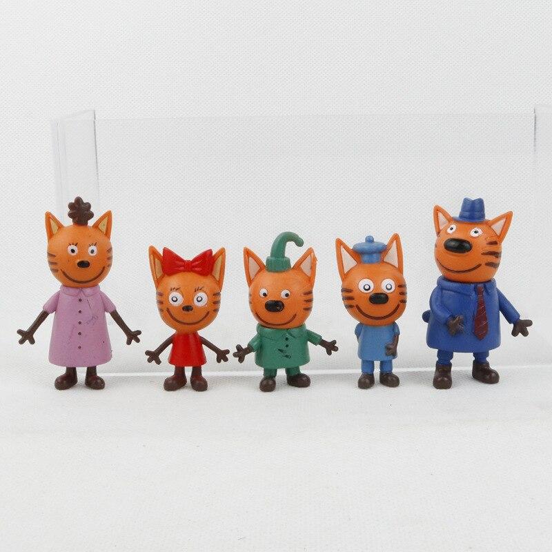 5 teile/los Kätzchen Russische Glücklich Drei Kätzchen Action Figur Spielzeug Tiere Cartoon Katze Modell Puppe Spielzeug Für Kid Kinder Weihnachten geschenk