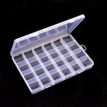 2 pièces 24 grille Transparent en plastique boîte de rangement organisateur Case Nail Art gemmes bijoux perles décoration conteneur