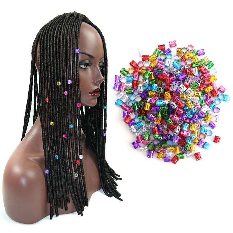 Venda da fábrica 1000 Pçs/lote Rosa Roxo Vermelho Verde Azul Ouro Prata Beads Ajustável Anel de Cabelo Para Tranças de Cabelo Dreadlock