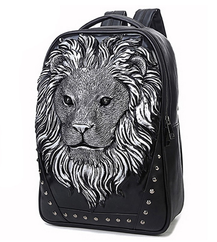 unisex casual backpack Lion head  rivet computer bag 3D animal prints beast Relief bag