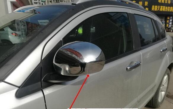 ABS chrome 2 uds puerta lateral del coche vista trasera espejo de marcha atrás decoración cubierta de protección para Dodge Caliber,compass 2008-2011
