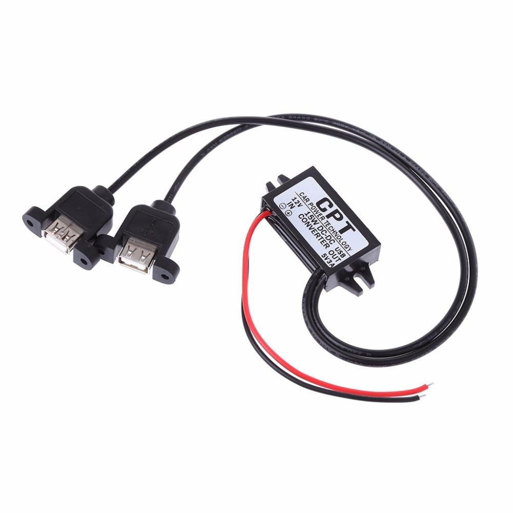 Adaptador de cargador USB para coche, 1 unidad, cc 12V a 5V 3A 15W, módulo convertidor de cargador USB Dual, adaptador de Cable de alimentación