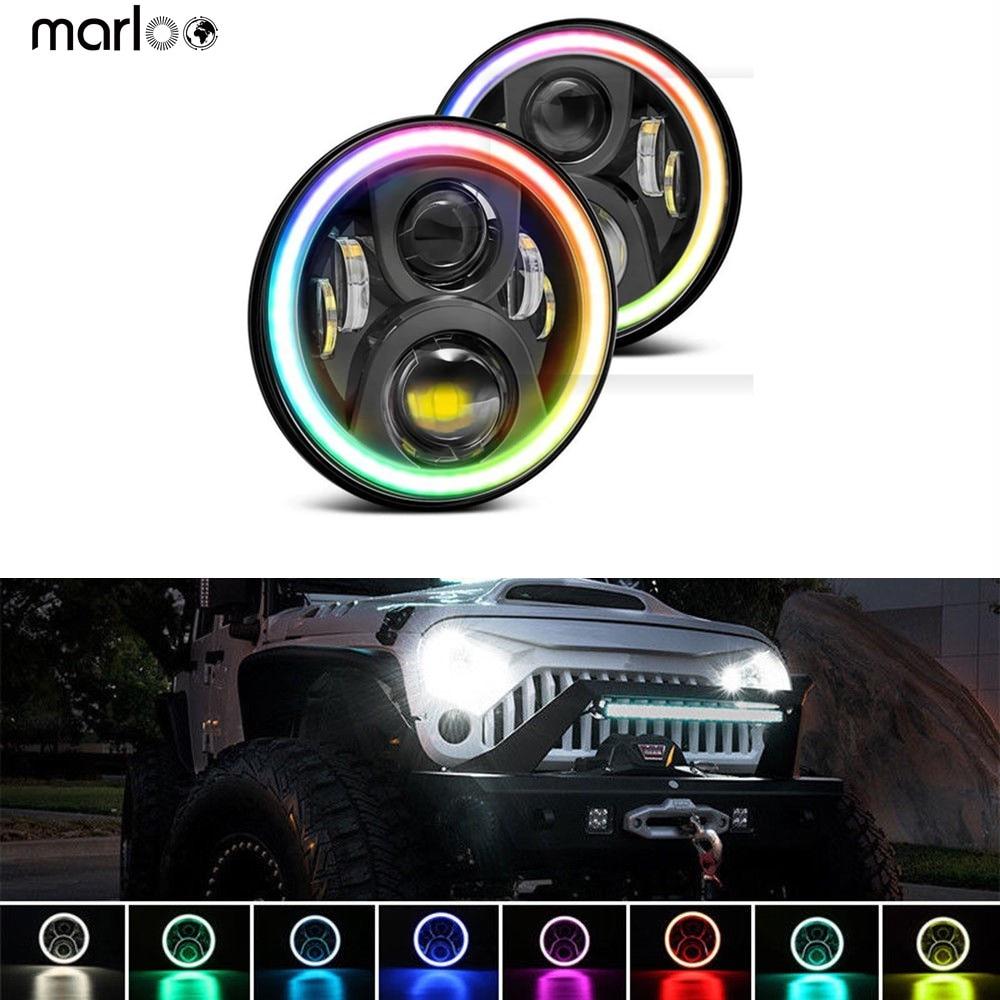 "RGB 7 ""faros LED 7 pulgadas ronda DRL faro RGB Ojo de Ángel anillo Halo App Bluetooth controlado para Jeep Wrangler JK LJ CJ TJ"