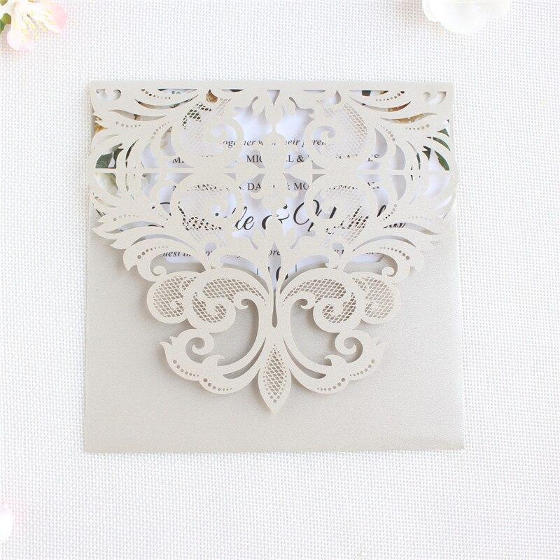 Sobres invitación de boda Tarjeta de corte láser bolsillo suave luz Rosa gris oferta impresión personalizada suministro 50 Uds