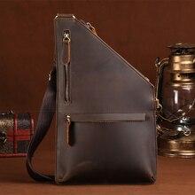 Nouveau Crazy Horse peau de vache hommes sac de poitrine Designer unique épaule jour sac à dos en cuir véritable Vintage Messenger sacs à bandoulière