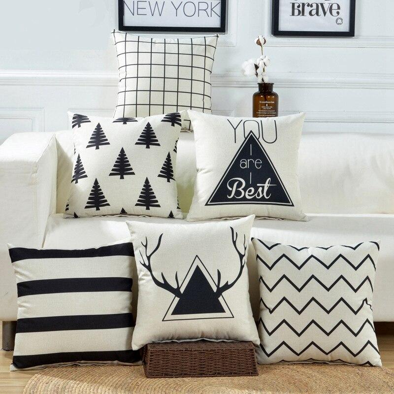 Geometric Home Cushion covers Cotton Linen Black White Pillow Cover Sofa Bed Nordic Decorative Pillows Case Almofadas 45x45cm