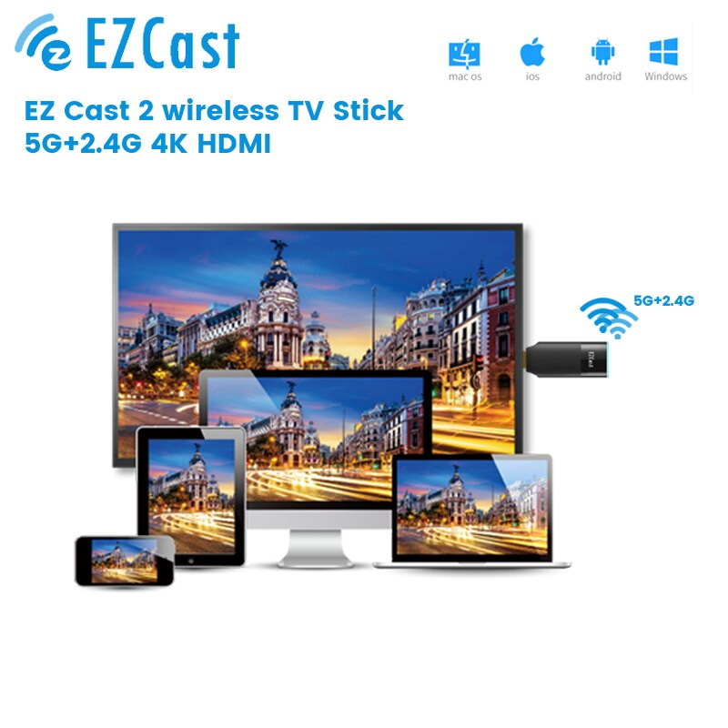 Newest Ezcast2 5G+2.4G WIFI Receiver TV Stick DONGLE 1080P HDMI-compatible mirascreen anycast miracast  Display 5G TV Stick