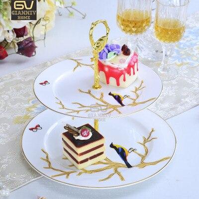 العظام الصين الأوروبية السرو شجرة الرسم مزدوجة ديكر لوحات كعكة الفاكهة وجبة خفيفة لوحة بعد الظهر الشاي السيراميك صينية الخزف