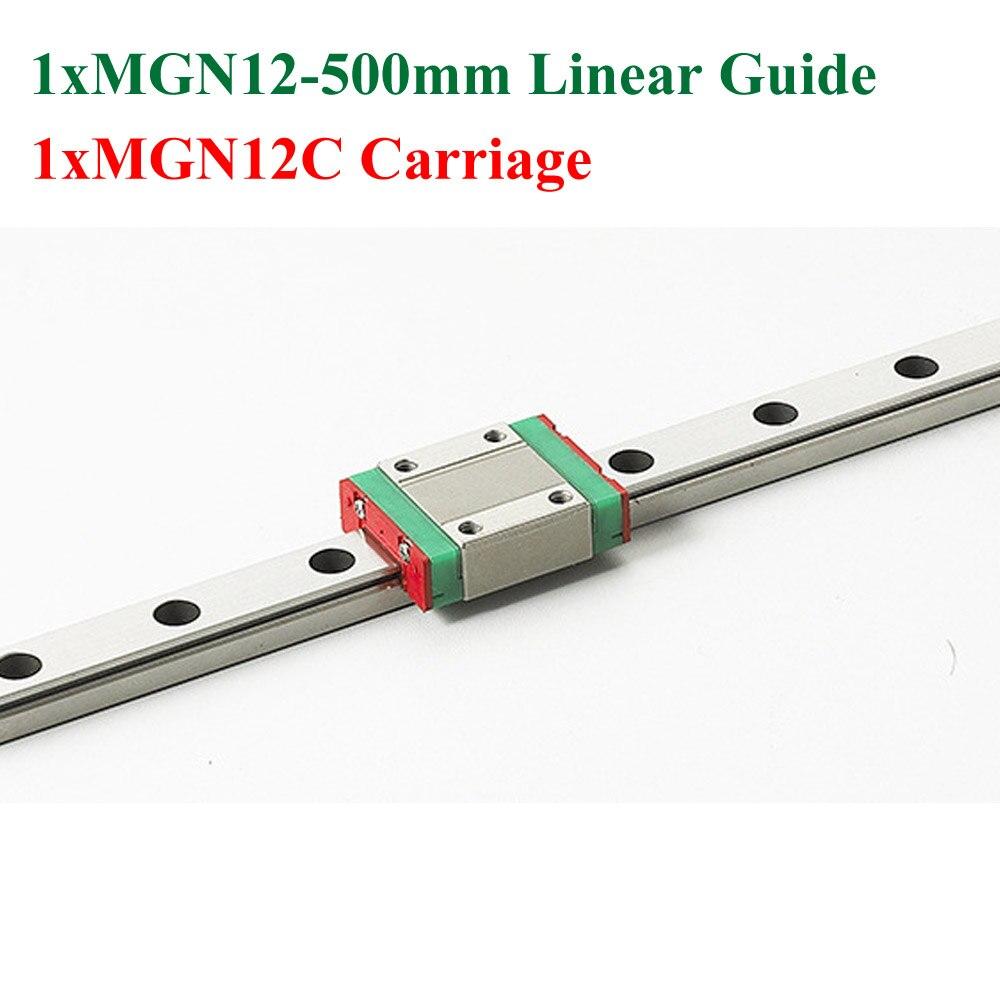 سكة حركة خطية صغيرة ، MR12 ، 12 مللي متر ، 500 مللي متر ، كتلة خطية MGN12C ، Cnc Kossel