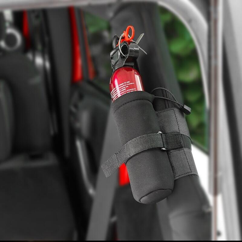 Para Jeep Wrangler 1 pieza estilo coche extintor vendaje vehículo maletero cinturón fijo pegatina de soporte correas accesorios de coche