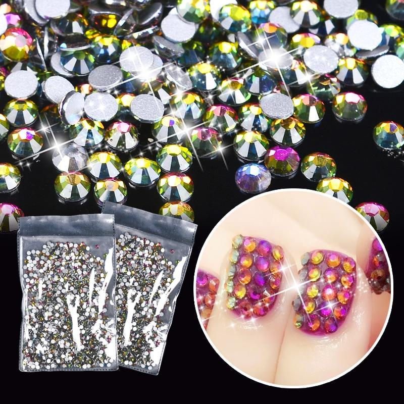 1 Pack Rainbow AB Nail Art Rhinestones 2mm Flat Bottom 3D Nail Decor Manicure Crystal Decorations For Nails недорого