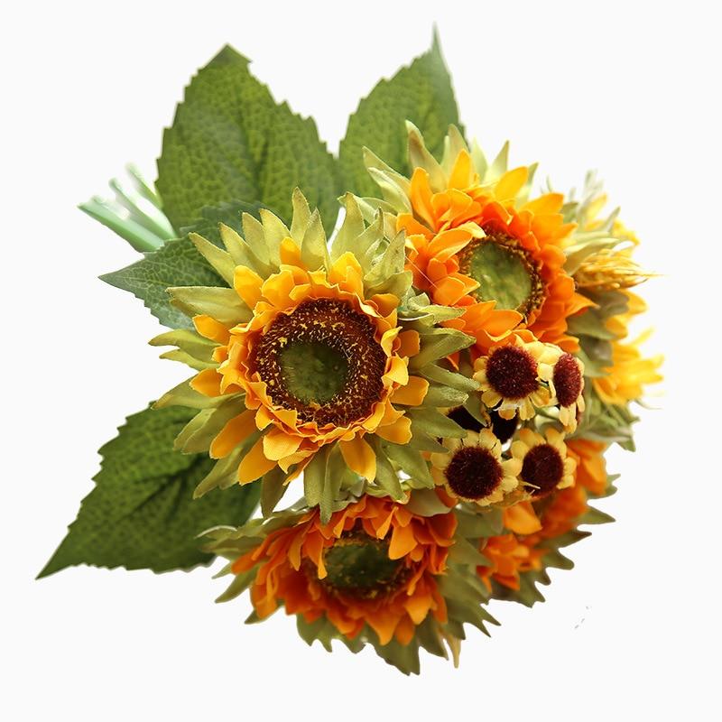5 cabezas de decoración de otoño, girasol amarillo, ramo de flores artificiales de seda para la decoración del hogar, decoración de la Oficina, fiesta, decoración del jardín