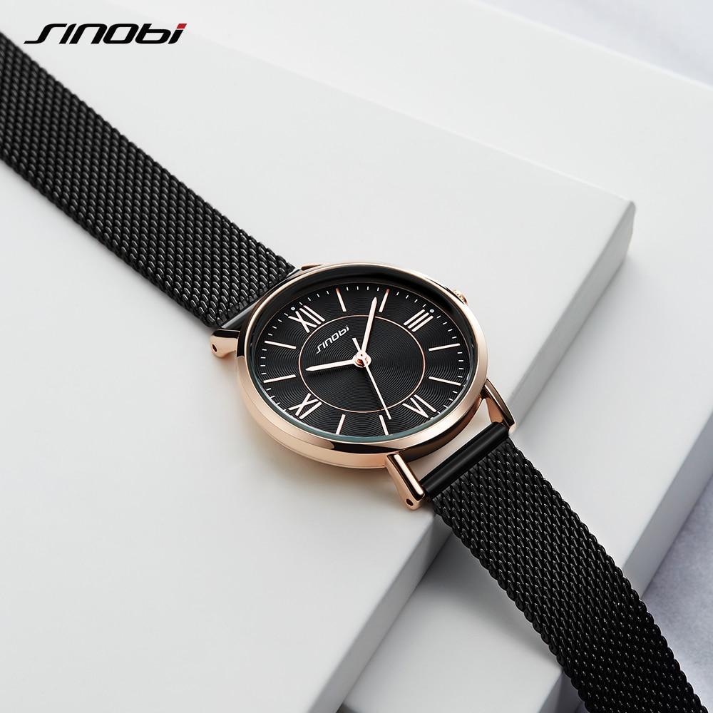 SINOBI SINOBI Women ladies Watches Classic Style Black/Golden Luxury Stainless Steel Bracelet Watch Wristwatch Reloj Mujer new enlarge