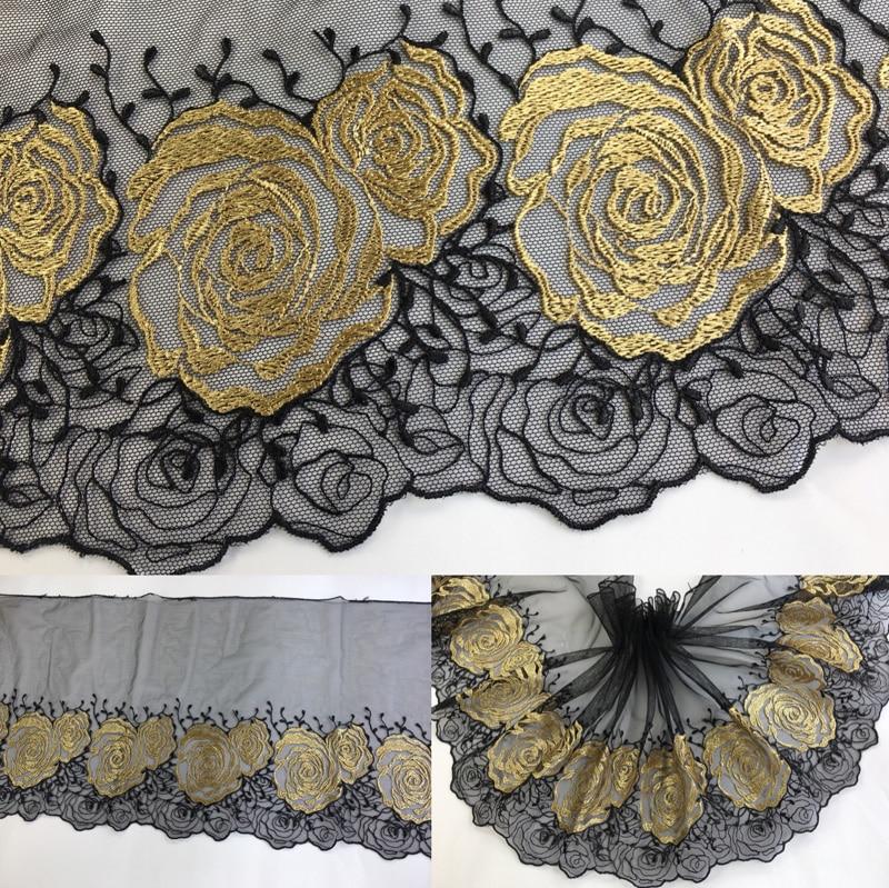 Luxo de Ouro Cabo de Fita cortina cachecol guipure guarnição do laço de Fita Preta bonecas de Brinquedo preto roupas artesanais tecido costura baratos P036
