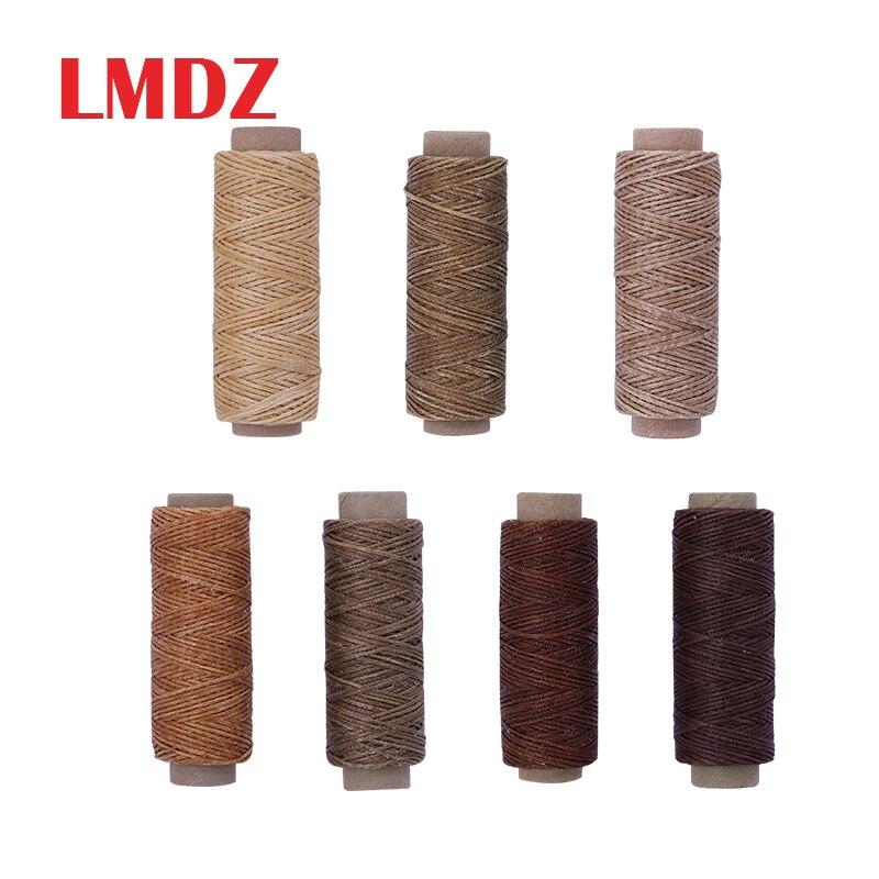 Lmdz plana encerado thread150d 50 m corda de cera cabo de costura artesanato ferramenta portátil para diy artesanato produtos de couro fio encerado