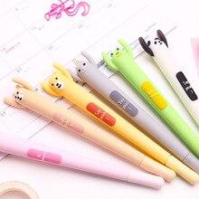 6 pcs Be happy Cartoon gel pen Kawaii frog bear cat rabbit 0.5mm ballpoint Black color pen Cartoon gift  School supplies FB529