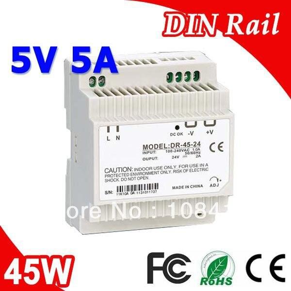 El DR.-45-5 LED en carril Din transformador de fuente de alimentación 110 V 220 V AC a DC 5 V 5A 25 W de potencia de salida
