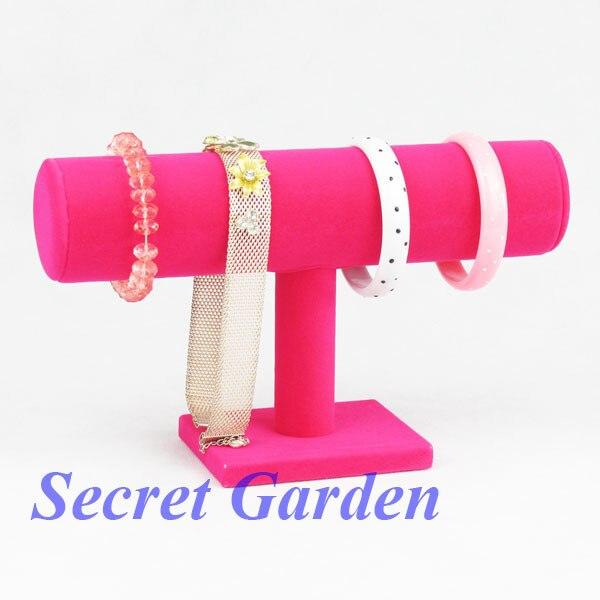 TONVIC 2 High Quality Pink Velvet Watch Bangle Bracelet Display Stand Holder T-Bar