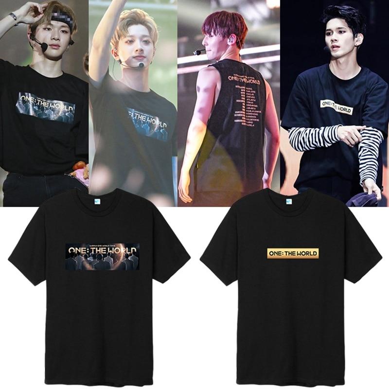 KPOP Wanna One men camiseta ONE THE WORLD Concert Fan soporte de manga corta unisex verano camiseta casual camisetas nuevo