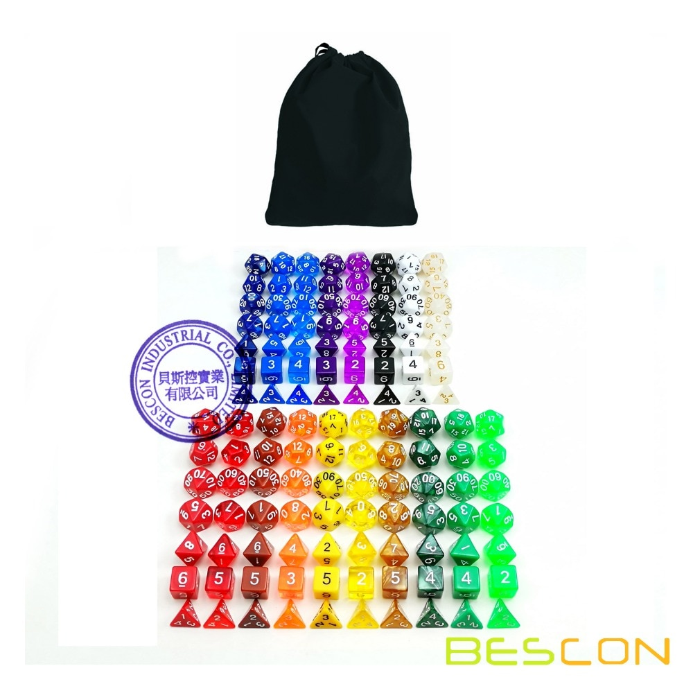 Bescon Разноцветные Игральные Кости Из 126 многогранных игральных костей 18 комплектов из 7 игральных костей 18 различных цветов-черный бархатный...