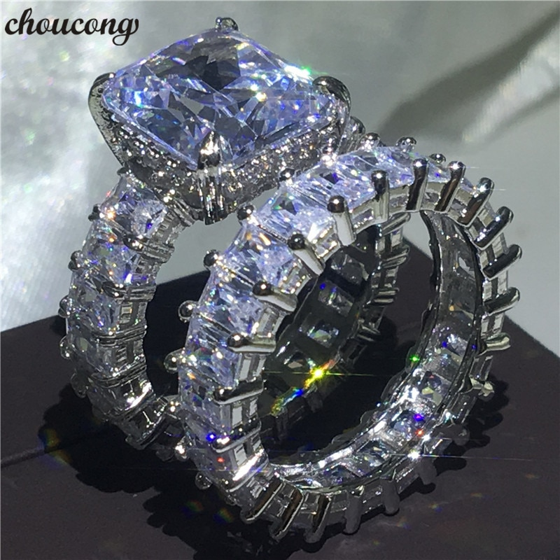 Juegos de anillos de corte princesa choucong, Plata de Ley 925 AAAAA cz, anillos de compromiso para bodas para mujeres y hombres, joyería de dedo para fiestas