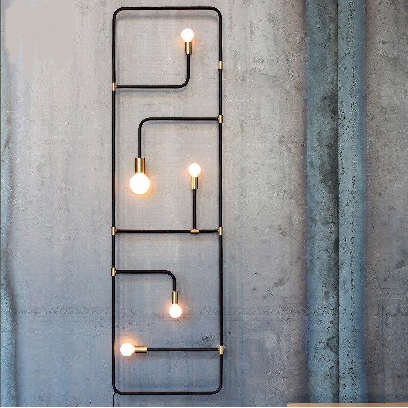 Скандинавский Лофт простой промышленный Стиль черная железная труба настенная лампа для бара столовой декоративный настенный светильник ...