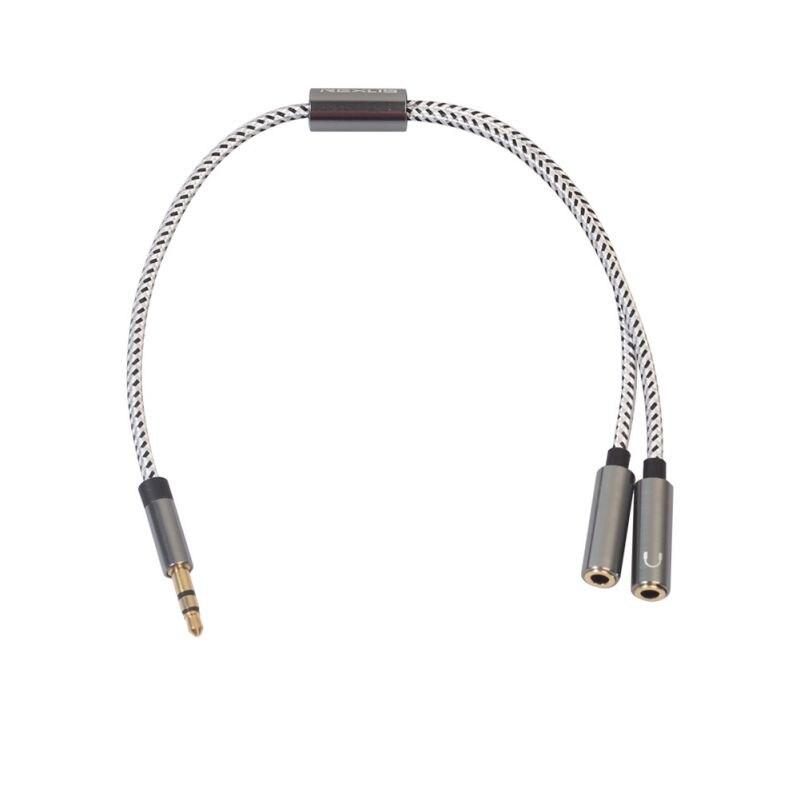 3.5mm pleciony przedłużacz Audio kabel, 2-in-1 dźwięk radia Splitter na telefon/Tablet, HiFi dźwięku, wyjście Stereo, podwójny kanał