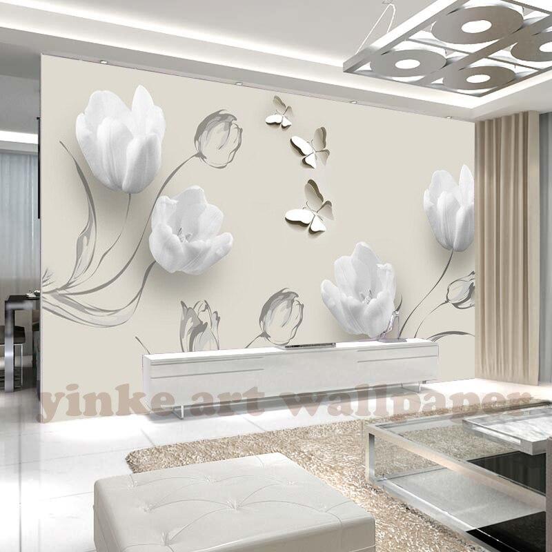 Papel pintado 3D personalizado foto de moda Blanco simple tulipán mural de mariposa Sala TV sofá Fondo papel pintado de pared
