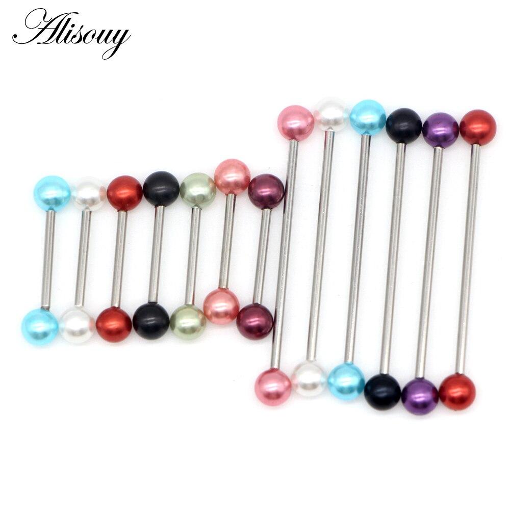 Alisouy 1 ud. 1,6*16/38mm pendiente de perlas de imitación Industrial Piercing Barbell pendientes joyería de moda cuerpo piercing joyería