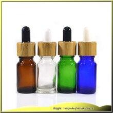 10 pcs 5ml clear glass dropper bottle 10ml blue green amber e-liquid glass bottle with bamboo cap glass essential oil bottle