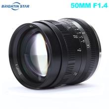 Brightin Star 50 мм F1.4 объектив с большой диафрагмой ручной объектив для Sony E mount для Fuji X mount M4/3 крепление беззеркальных камер