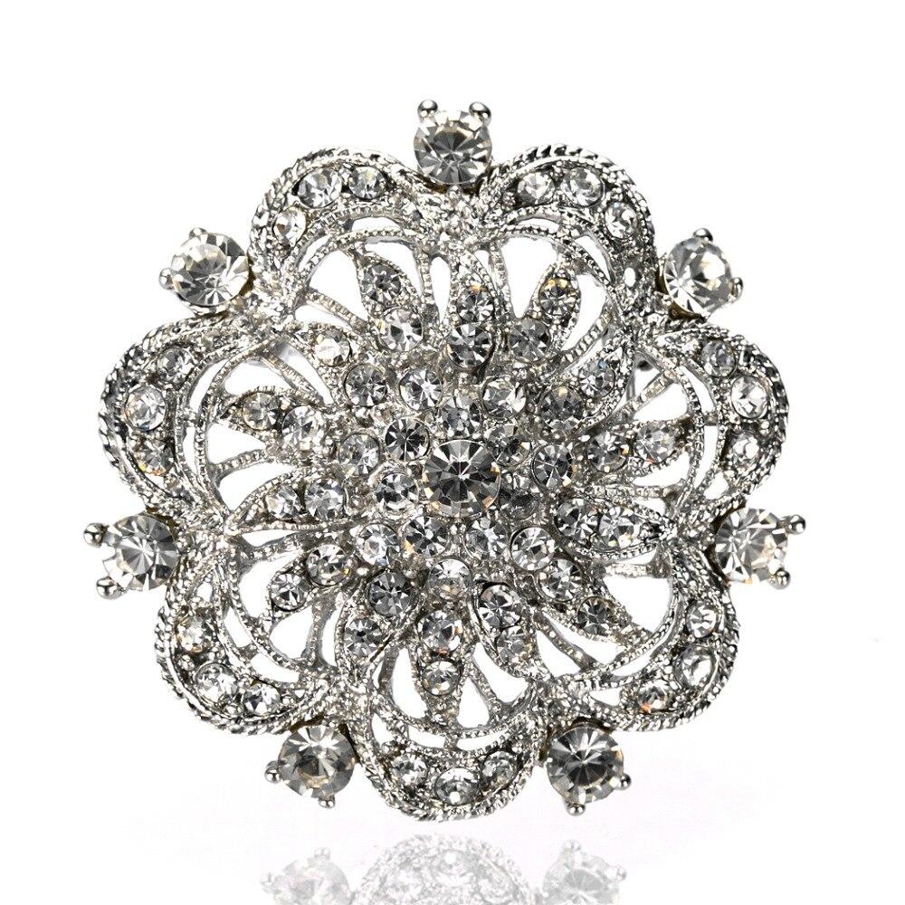 Vintage estilo plata rodio Diamante de corazón transparente flor ramo boda broche de tarta Pin
