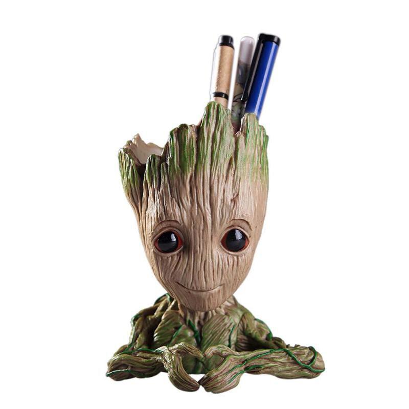 Pote de flor bebé maceta de Groot lindo juguete de la pluma titular de PVC héroe bebé modelo Hombre árbol maceta para planta de jardín Groot