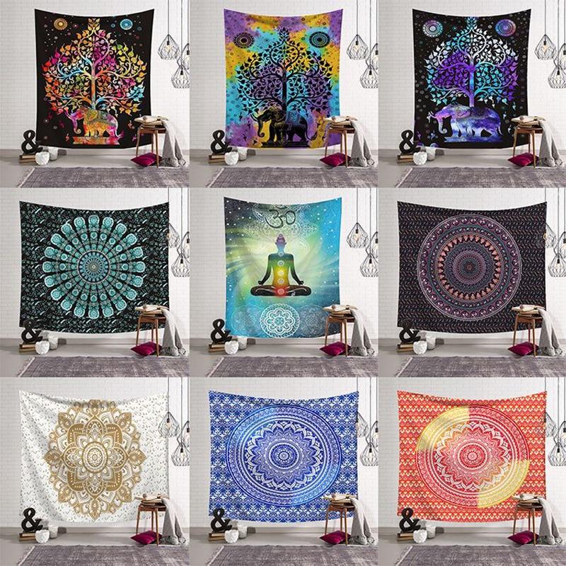 Mandala elefante cuadrado tapiz alfombra colgante para pared estera de Yoga para el hogar dormitorio arte decoración alfombra 200x150CM brújula India