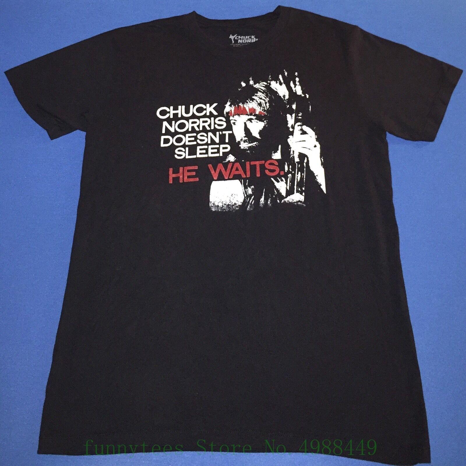 Camiseta negra Chuck Norris dolls Sleep He Waits para hombre, camisetas grandes a la moda de verano