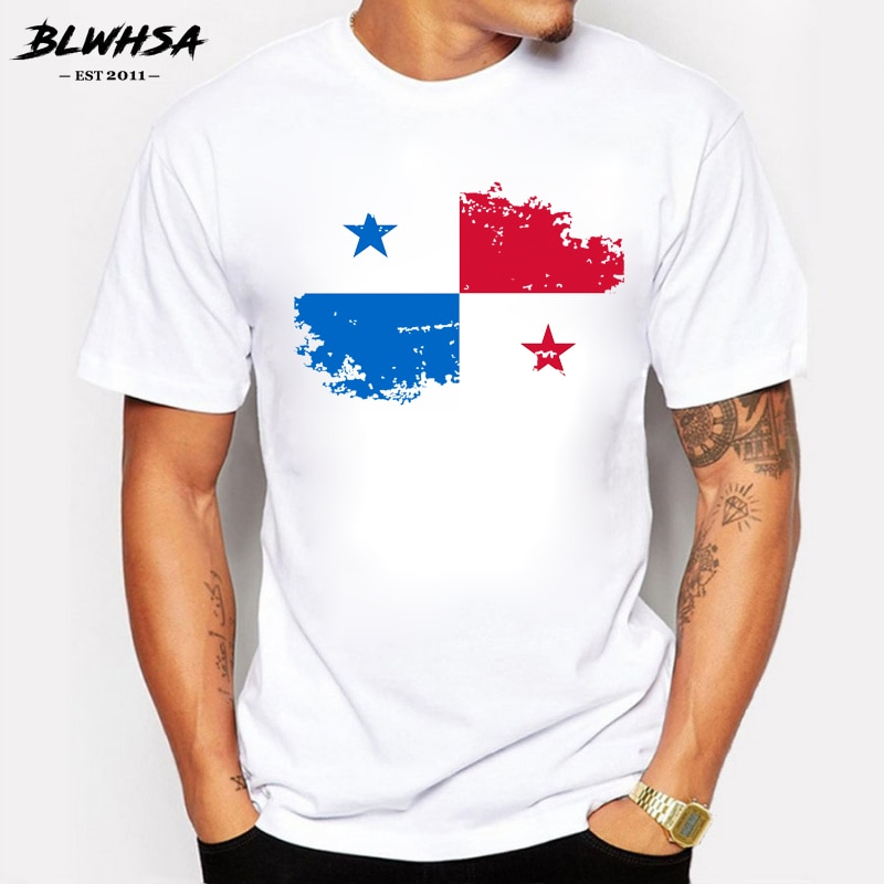 BLWHSA Panama bandera hombres camiseta de moda de manga corta de algodón de marca de diseño Nostalgia camisetas Hip hop Panama Fans Cheer Tees