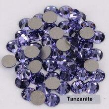 Good Quality ss3-ss34 Tanzanite Flat Back Non Hotfix Glue On Nail Art Rhinestones