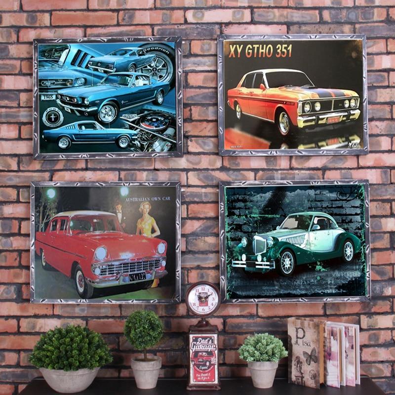 Car Vintage Tin Sign Bar Pub Home Wall Decor Retro Metal Art Beer Coffee Poster Plate 1001(60) 20*30cm