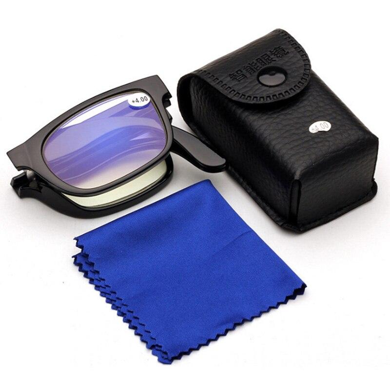 Новые синие линзы с покрытием, складные очки для чтения, мужская и женская пластиковая оправа, очки для дальнозоркости + 1,00 + 1,50 + 2,00 + 2,50 + 3,50 + 4,...
